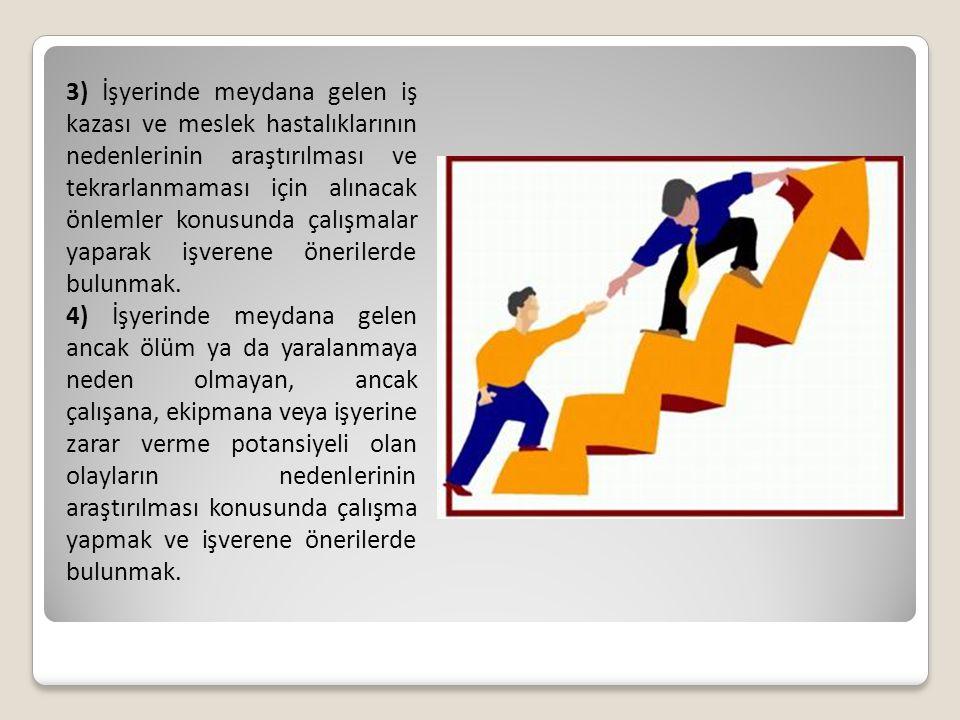 3) İşyerinde meydana gelen iş kazası ve meslek hastalıklarının nedenlerinin araştırılması ve tekrarlanmaması için alınacak önlemler konusunda çalışmal