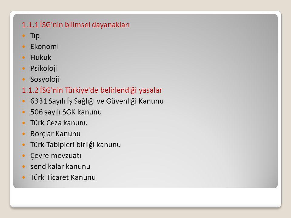 1.1.1 İSG'nin bilimsel dayanakları Tıp Ekonomi Hukuk Psikoloji Sosyoloji 1.1.2 İSG'nin Türkiye'de belirlendiği yasalar 6331 Sayılı İş Sağlığı ve Güven