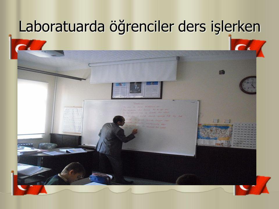 Laboratuarda öğrenciler ders işlerken