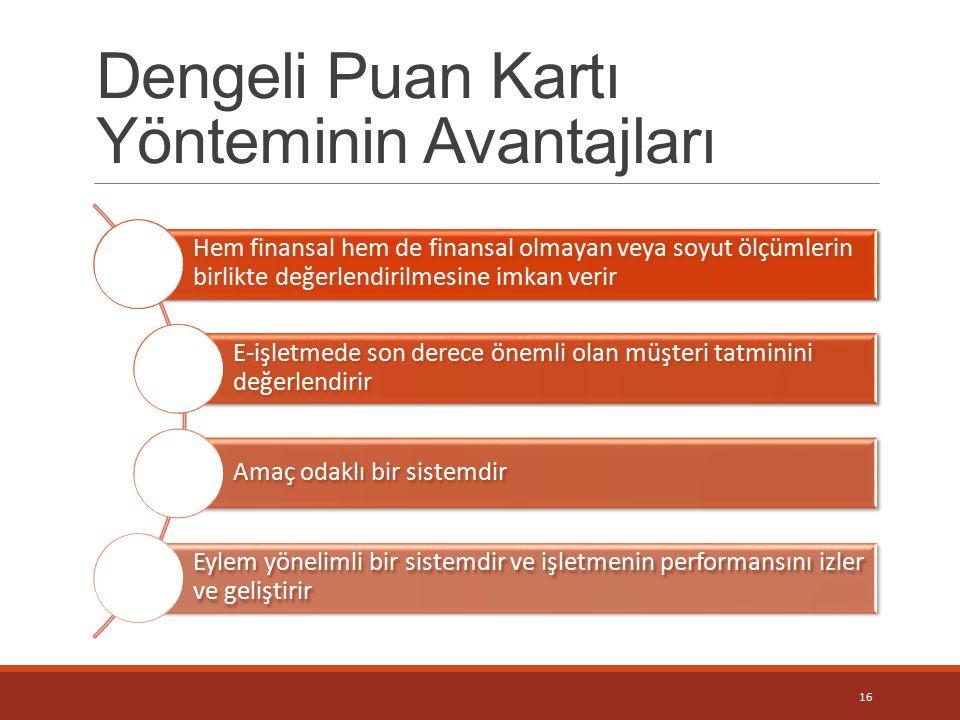 Dengeli Puan Kartı Yönteminin Avantajları Hem finansal hem de finansal olmayan veya soyut ölçümlerin birlikte değerlendirilmesine imkan verir E-işletm