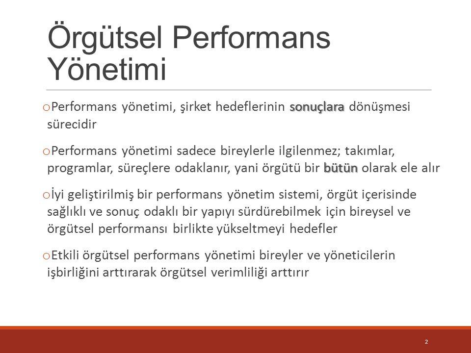 Örgütsel Performans Yönetimi sonuçlara o Performans yönetimi, şirket hedeflerinin sonuçlara dönüşmesi sürecidir bütün o Performans yönetimi sadece bir