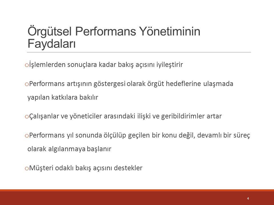 Örgütsel Performans Yönetiminin Faydaları o İşlemlerden sonuçlara kadar bakış açısını iyileştirir o Performans artışının göstergesi olarak örgüt hedef