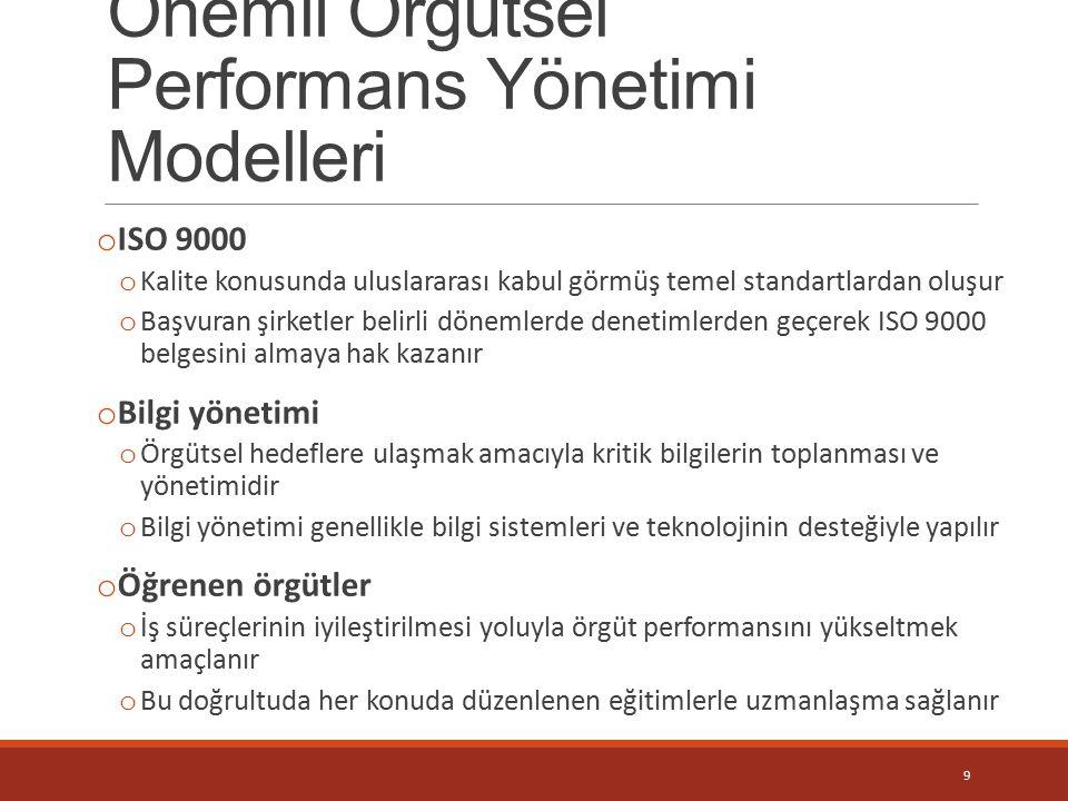 Önemli Örgütsel Performans Yönetimi Modelleri o ISO 9000 o Kalite konusunda uluslararası kabul görmüş temel standartlardan oluşur o Başvuran şirketler
