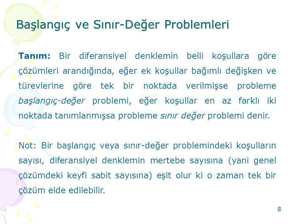 8 Başlangıç ve Sınır-Değer Problemleri Tanım: Bir diferansiyel denklemin belli koşullara göre çözümleri arandığında, eğer ek koşullar bağımlı değişken