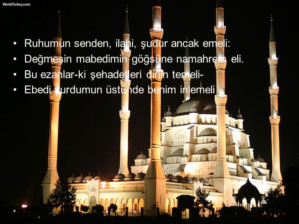 Ruhumun senden, ilahi, şudur ancak emeli: Değmesin mabedimin göğsüne namahrem eli. Bu ezanlar-ki şehadetleri dinin temeli- Ebedi yurdumun üstünde beni