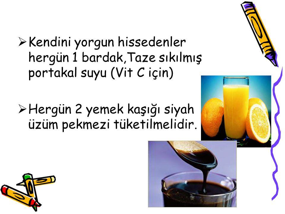  Kendini yorgun hissedenler hergün 1 bardak,Taze sıkılmış portakal suyu (Vit C için)  Hergün 2 yemek kaşığı siyah üzüm pekmezi tüketilmelidir.