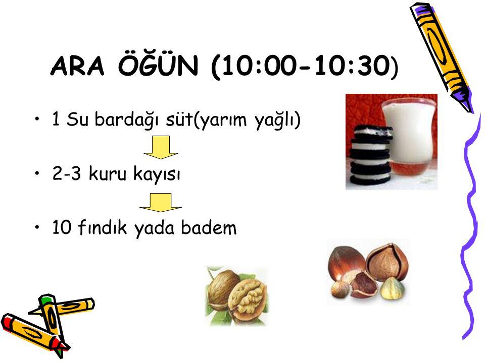 ARA ÖĞÜN (10:00-10:30 ) 1 Su bardağı süt(yarım yağlı) 2-3 kuru kayısı 10 fındık yada badem