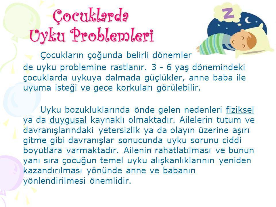 Çocuklarda Uyku Problemleri Çocukların çoğunda belirli dönemler de uyku problemine rastlanır. 3 - 6 yaş dönemindeki çocuklarda uykuya dalmada güçlükle