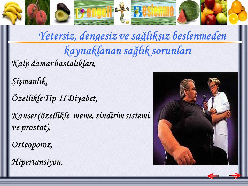 Kalp damar hastalıkları, Şişmanlık, Özellikle Tip-II Diyabet, Kanser (özellikle meme, sindirim sistemi ve prostat), Osteoporoz, Hipertansiyon.