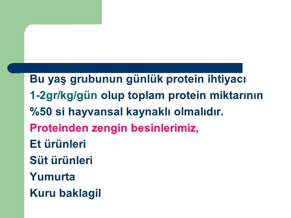 Bu yaş grubunun günlük protein ihtiyacı 1-2gr/kg/gün olup toplam protein miktarının %50 si hayvansal kaynaklı olmalıdır. Proteinden zengin besinlerimi
