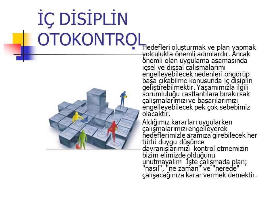 İÇ DİSİPLİN OTOKONTROL Hedefleri oluşturmak ve plan yapmak yolculukta önemli adımlardır.