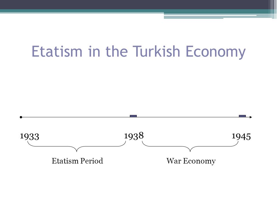Etatism in Turkey It was financed by domestic resources (taxes) High-technology Production costs were low (limited worker rights) Complements and encourages private sector Import substitution (consumption goods)