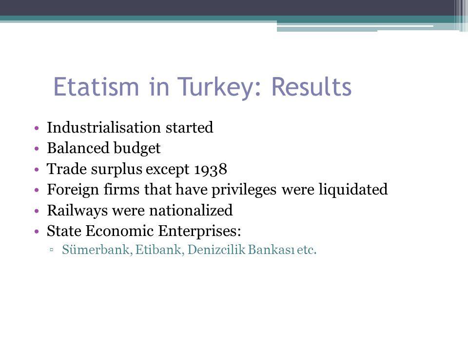 Etatism in Turkey: Results Industrialisation started Balanced budget Trade surplus except 1938 Foreign firms that have privileges were liquidated Rail