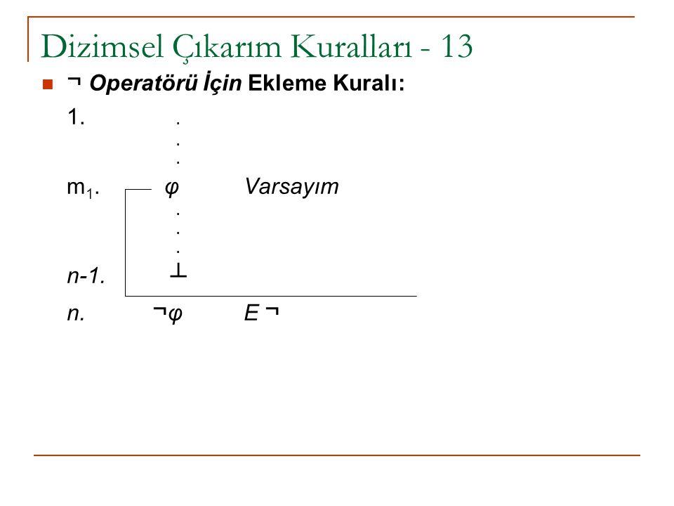 Dizimsel Çıkarım Kuralları - 13 ¬ Operatörü İçin Ekleme Kuralı: 1... m 1. φ Varsayım. n-1. ┴ n. ¬ φ E ¬