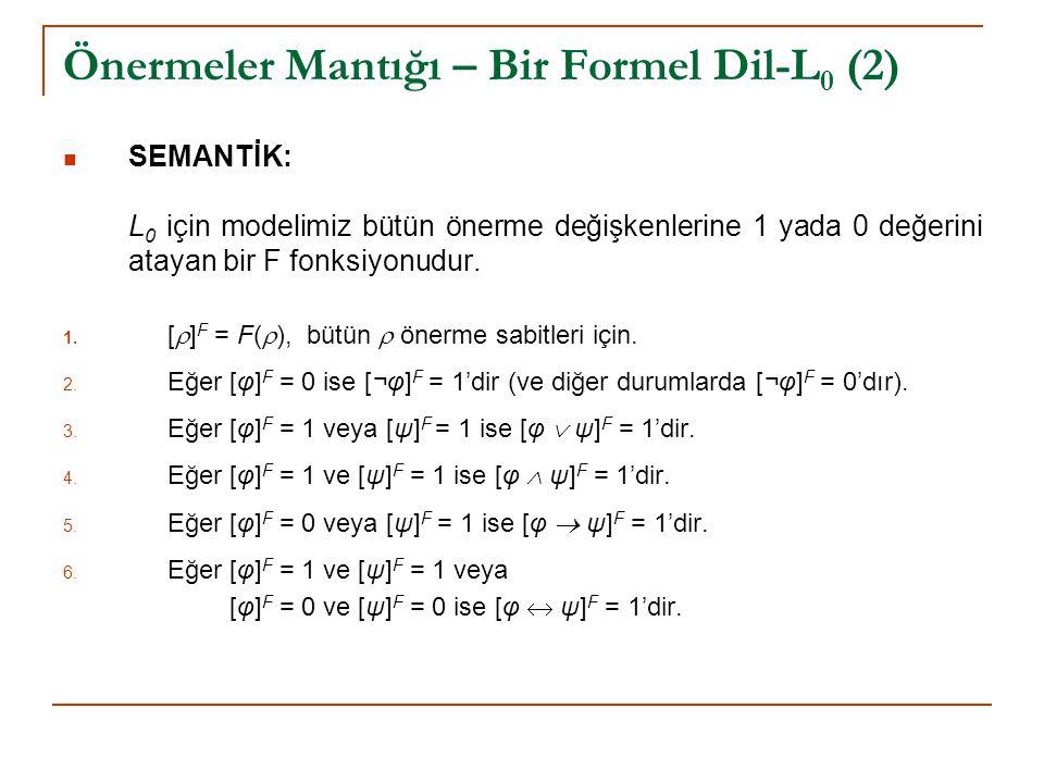 Önermeler Mantığı – Bir Formel Dil-L 0 (2) SEMANTİK: L 0 için modelimiz bütün önerme değişkenlerine 1 yada 0 değerini atayan bir F fonksiyonudur. 1. [