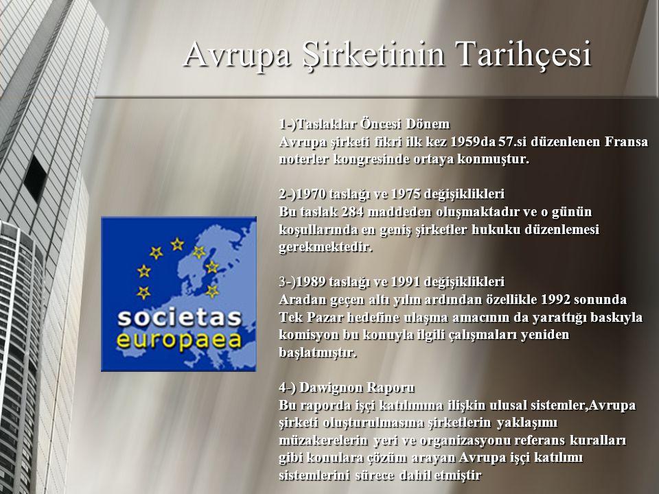 AVRUPA ŞİRKETİNİN KURULUŞU VE YAPISI Tek Pazar hedefinin en önemli araçlarından biri olan Avrupa şirketi yaklaşık 35 yıl önce çıktığı yolculuğu tamamlamış ve şirketin statüsünü ortaya koyan tüzük 10 Ekim 2001 tarihinde yayınlanmıştır.