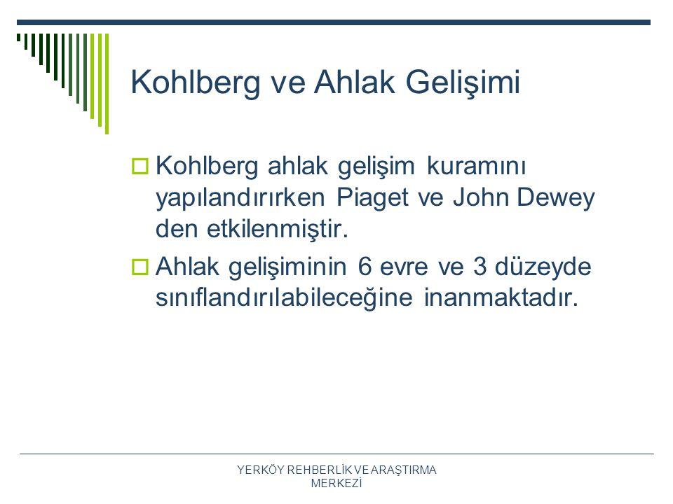 Kohlberg ve Ahlak Gelişimi  Kohlberg ahlak gelişim kuramını yapılandırırken Piaget ve John Dewey den etkilenmiştir.  Ahlak gelişiminin 6 evre ve 3 d