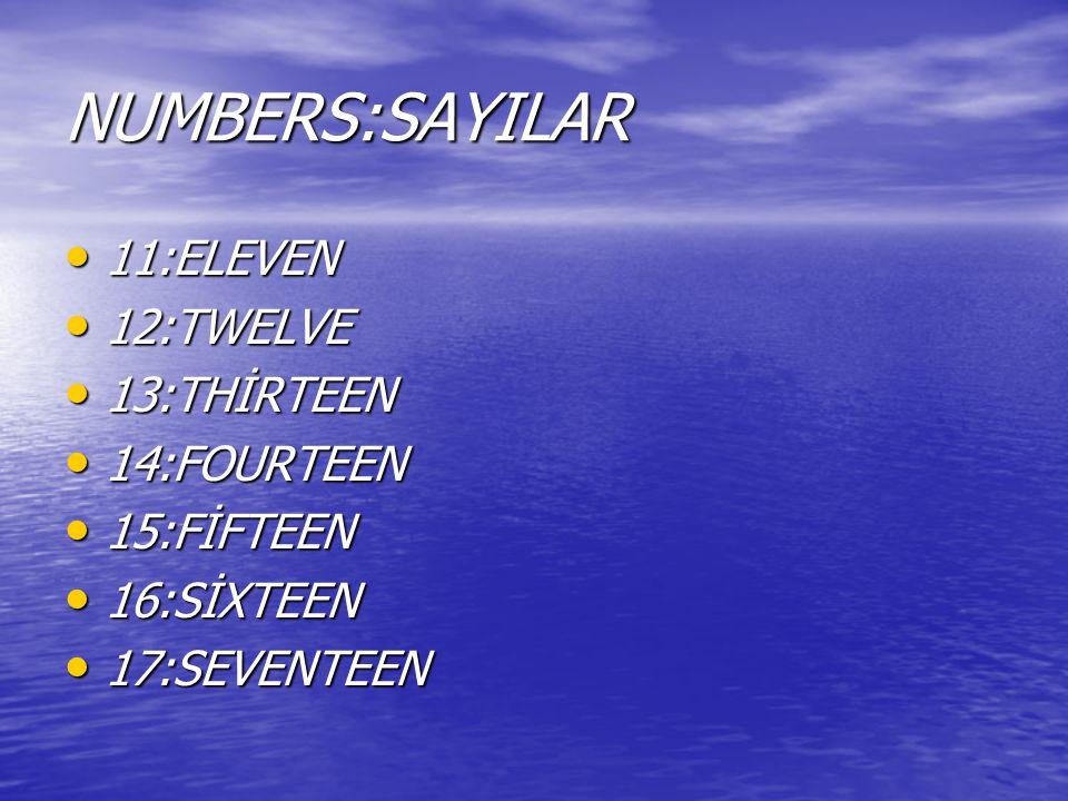 NUMBERS:SAYILAR 11:ELEVEN 11:ELEVEN 12:TWELVE 12:TWELVE 13:THİRTEEN 13:THİRTEEN 14:FOURTEEN 14:FOURTEEN 15:FİFTEEN 15:FİFTEEN 16:SİXTEEN 16:SİXTEEN 17