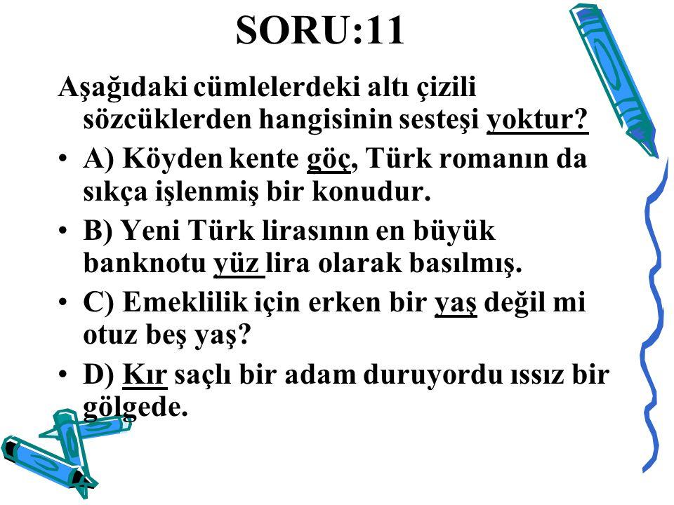 SORU:11 Aşağıdaki cümlelerdeki altı çizili sözcüklerden hangisinin sesteşi yoktur? A) Köyden kente göç, Türk romanın da sıkça işlenmiş bir konudur. B)