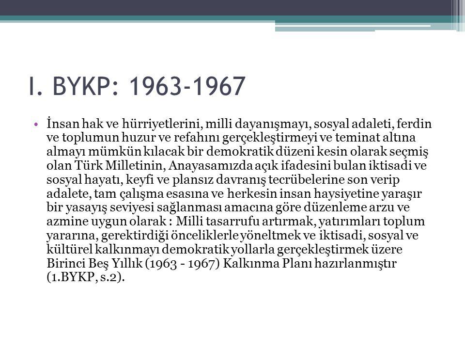 I. BYKP: 1963-1967 İnsan hak ve hürriyetlerini, milli dayanışmayı, sosyal adaleti, ferdin ve toplumun huzur ve refahını gerçekleştirmeyi ve teminat al