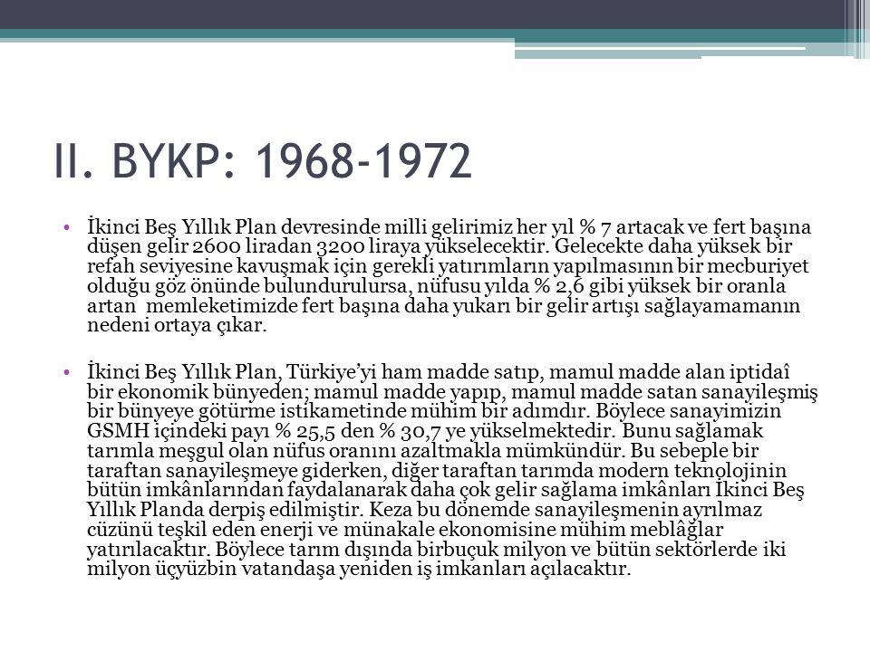II. BYKP: 1968-1972 İkinci Beş Yıllık Plan devresinde milli gelirimiz her yıl % 7 artacak ve fert başına düşen gelir 2600 liradan 3200 liraya yükselec