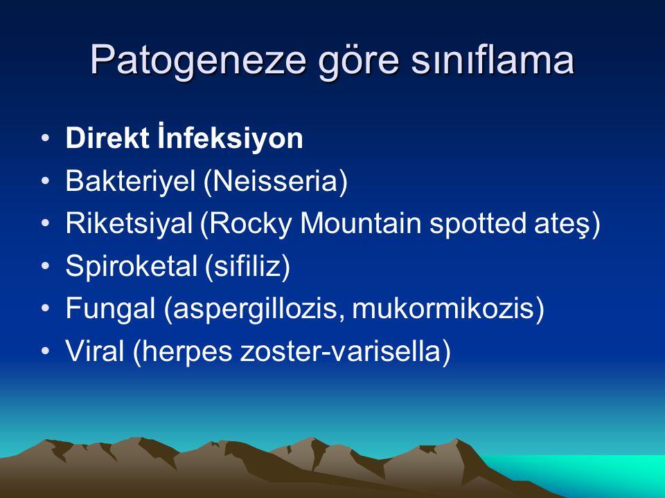 Churg-Strauss sendromu Allerjik granülomatozis ve angitis mikroskopi klasik PAN Allerjik rinit,bronşyal astma ve eozinofili Akciğer,kalp (koroner arterit),dalak,periferik sinir ve deri