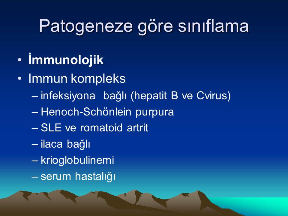 Patogeneze göre sınıflama İmmunolojik Immun kompleks –infeksiyona bağlı (hepatit B ve Cvirus) –Henoch-Schönlein purpura –SLE ve romatoid artrit –ilaca bağlı –krioglobulinemi –serum hastalığı