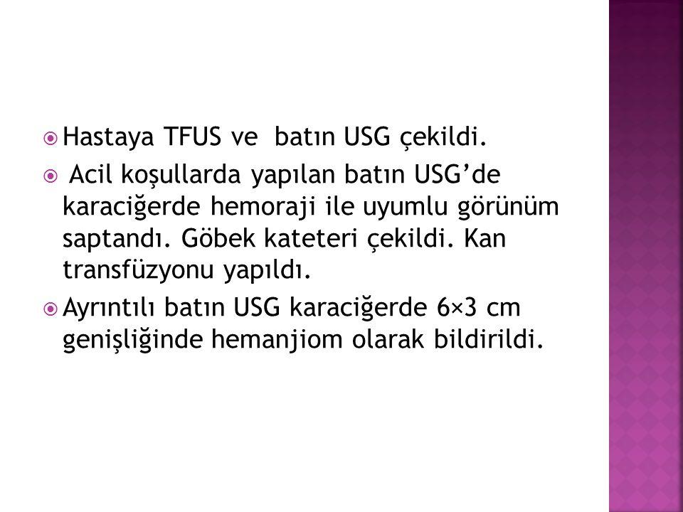  Hastaya TFUS ve batın USG çekildi.