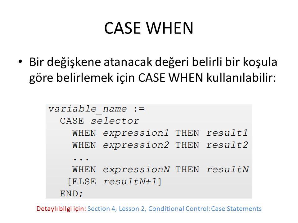 CASE WHEN Bir değişkene atanacak değeri belirli bir koşula göre belirlemek için CASE WHEN kullanılabilir: Detaylı bilgi için: Section 4, Lesson 2, Con