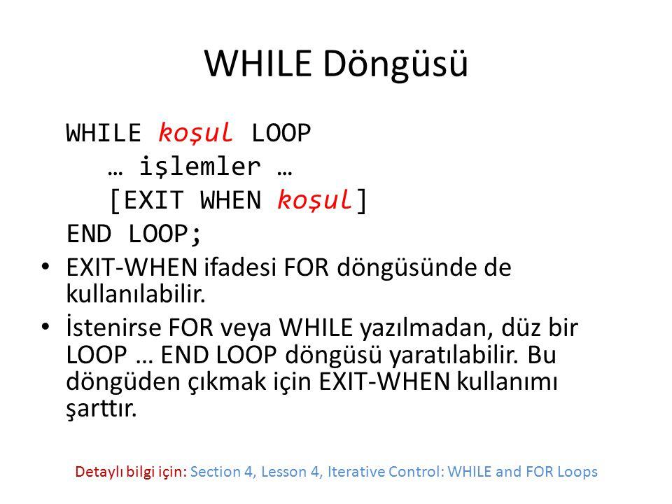 WHILE Döngüsü WHILE koşul LOOP … işlemler … [EXIT WHEN koşul] END LOOP; EXIT-WHEN ifadesi FOR döngüsünde de kullanılabilir. İstenirse FOR veya WHILE y