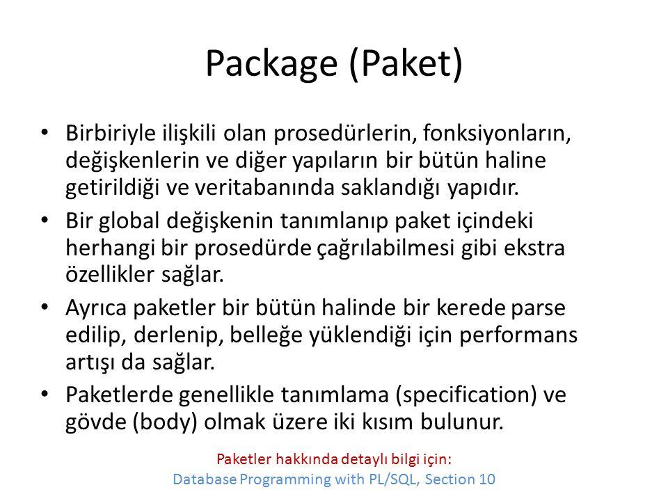 Package (Paket) Birbiriyle ilişkili olan prosedürlerin, fonksiyonların, değişkenlerin ve diğer yapıların bir bütün haline getirildiği ve veritabanında