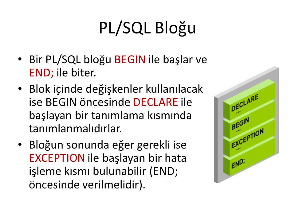 PL/SQL Bloğu Bir PL/SQL bloğu BEGIN ile başlar ve END; ile biter. Blok içinde değişkenler kullanılacak ise BEGIN öncesinde DECLARE ile başlayan bir ta