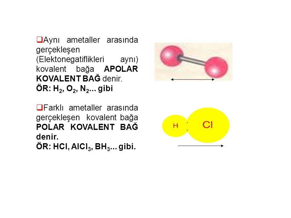  Aynı ametaller arasında gerçekleşen (Elektonegatiflikleri aynı) kovalent bağa APOLAR KOVALENT BAĞ denir. ÖR: H 2, O 2, N 2... gibi  Farklı ametalle
