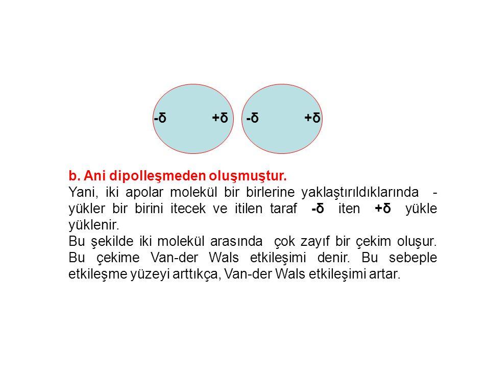 b. Ani dipolleşmeden oluşmuştur. Yani, iki apolar molekül bir birlerine yaklaştırıldıklarında - yükler bir birini itecek ve itilen taraf -δ iten +δ yü