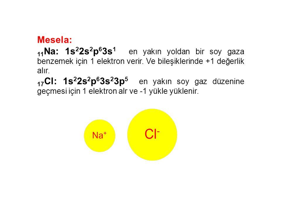 Mesela: 11 Na: 1s 2 2s 2 p 6 3s 1 en yakın yoldan bir soy gaza benzemek için 1 elektron verir. Ve bileşiklerinde +1 değerlik alır. 17 Cl: 1s 2 2s 2 p