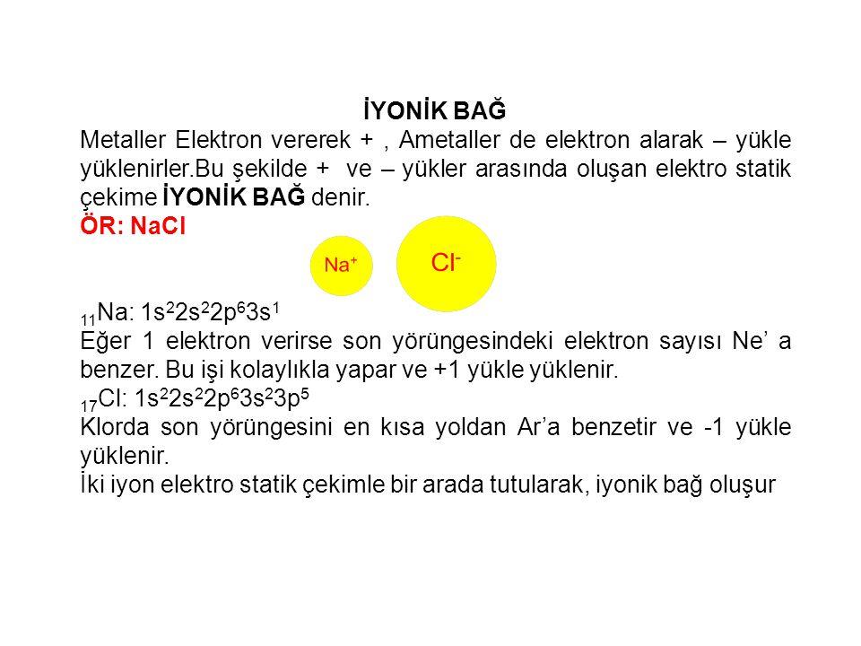 İYONİK BAĞ Metaller Elektron vererek +, Ametaller de elektron alarak – yükle yüklenirler.Bu şekilde + ve – yükler arasında oluşan elektro statik çekim