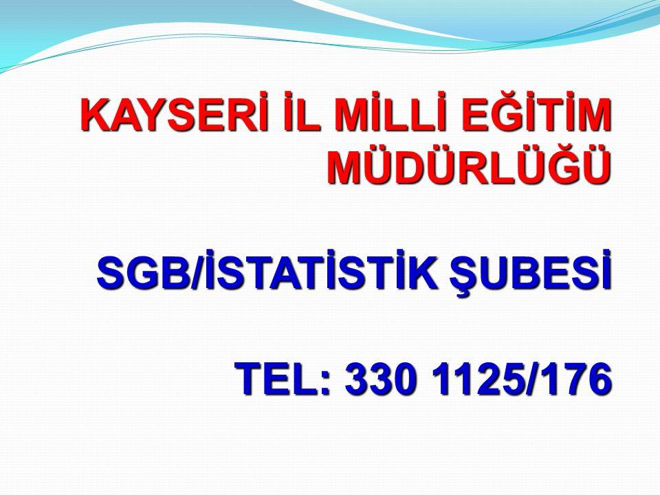 KAYSERİ İL MİLLİ EĞİTİM MÜDÜRLÜĞÜ SGB/İSTATİSTİK ŞUBESİ TEL: 330 1125/176
