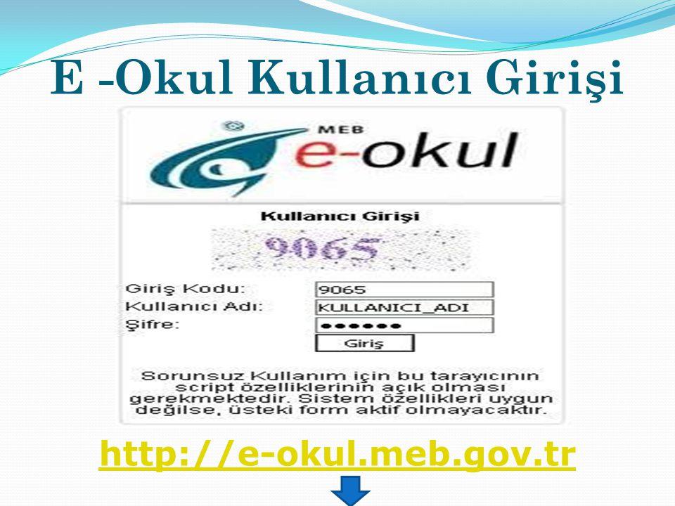 E -Okul Kullanıcı Girişi http://e-okul.meb.gov.tr