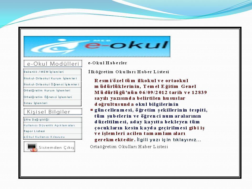 İlkokul-Ortaokul Kurum İşlemleri Ve Ortaöğretim kurum işlemleri den Yandaki ekrana Ulaşılır.Bu bölümdeki Okul Bilgileri başlığı eltindeki bölümler doldurulacaktır.