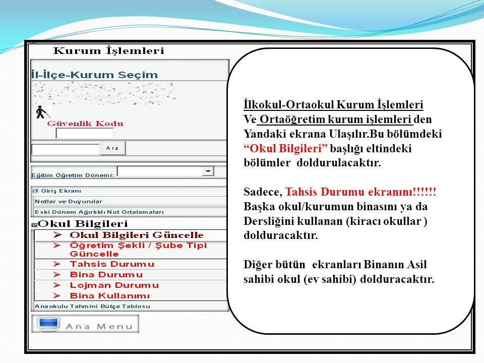  Ekranları doldurmadan önce sayfa altlarında bulunan açıklamaların dikkatle okunması gerekmektedir.