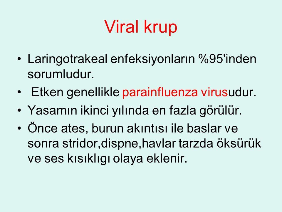 Viral krup Laringotrakeal enfeksiyonların %95'inden sorumludur. Etken genellikle parainfluenza virusudur. Yasamın ikinci yılında en fazla görülür. Önc