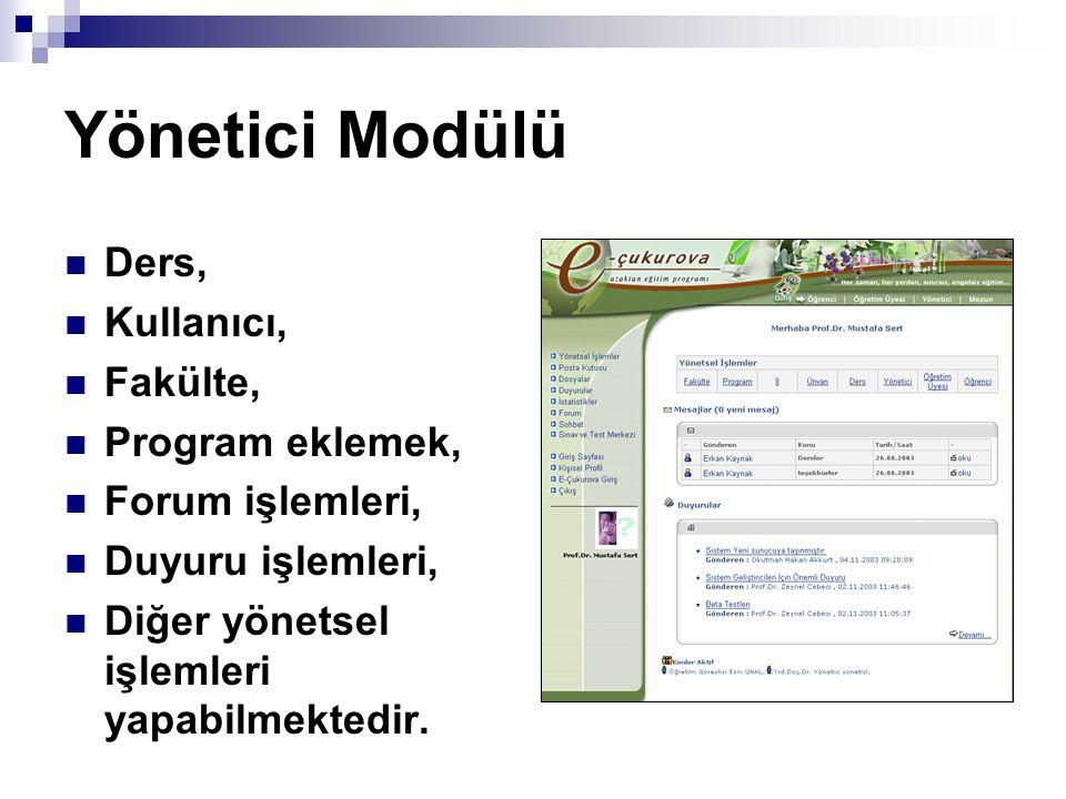 Yönetici Modülü Ders, Kullanıcı, Fakülte, Program eklemek, Forum işlemleri, Duyuru işlemleri, Diğer yönetsel işlemleri yapabilmektedir.
