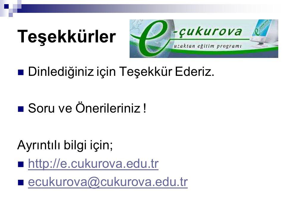 Teşekkürler Dinlediğiniz için Teşekkür Ederiz. Soru ve Önerileriniz ! Ayrıntılı bilgi için; http://e.cukurova.edu.tr ecukurova@cukurova.edu.tr