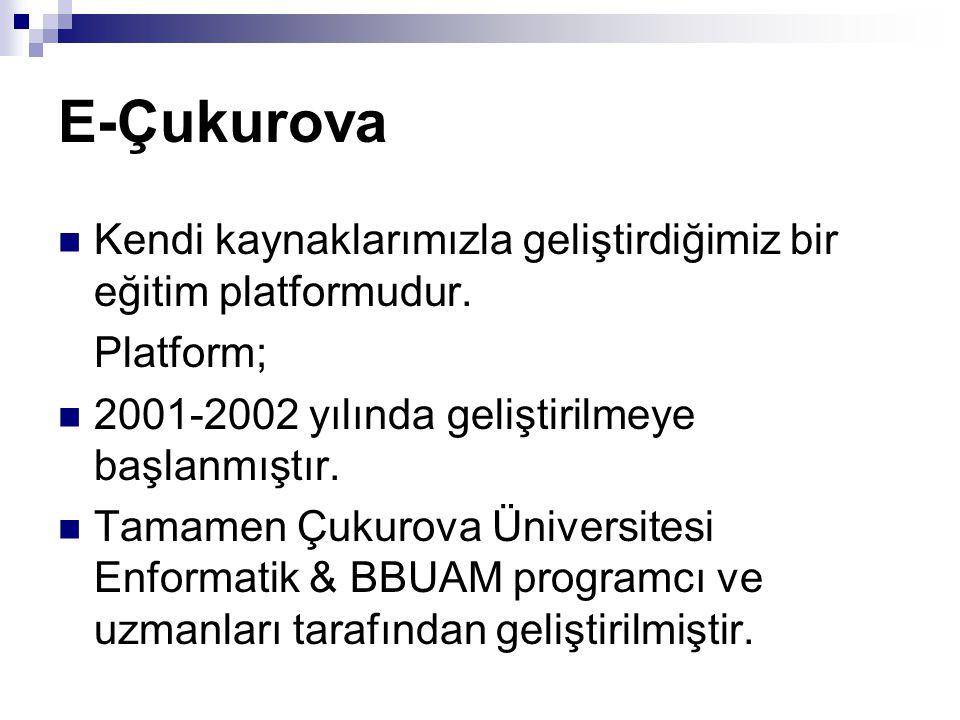 E-Çukurova Kendi kaynaklarımızla geliştirdiğimiz bir eğitim platformudur. Platform; 2001-2002 yılında geliştirilmeye başlanmıştır. Tamamen Çukurova Ün