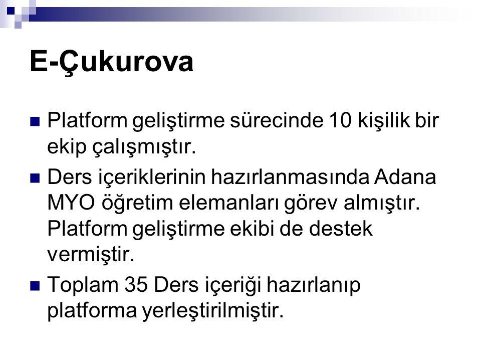 E-Çukurova Platform geliştirme sürecinde 10 kişilik bir ekip çalışmıştır. Ders içeriklerinin hazırlanmasında Adana MYO öğretim elemanları görev almışt