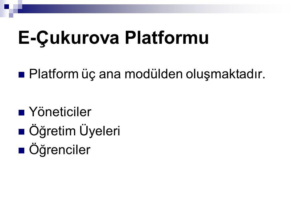 E-Çukurova Platformu Platform üç ana modülden oluşmaktadır. Yöneticiler Öğretim Üyeleri Öğrenciler