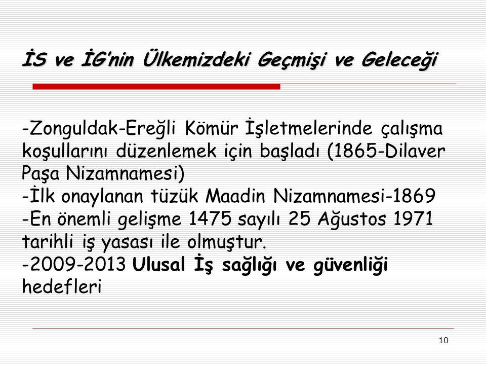 10 İS ve İG'nin Ülkemizdeki Geçmişi ve Geleceği -Zonguldak-Ereğli Kömür İşletmelerinde çalışma koşullarını düzenlemek için başladı (1865-Dilaver Paşa
