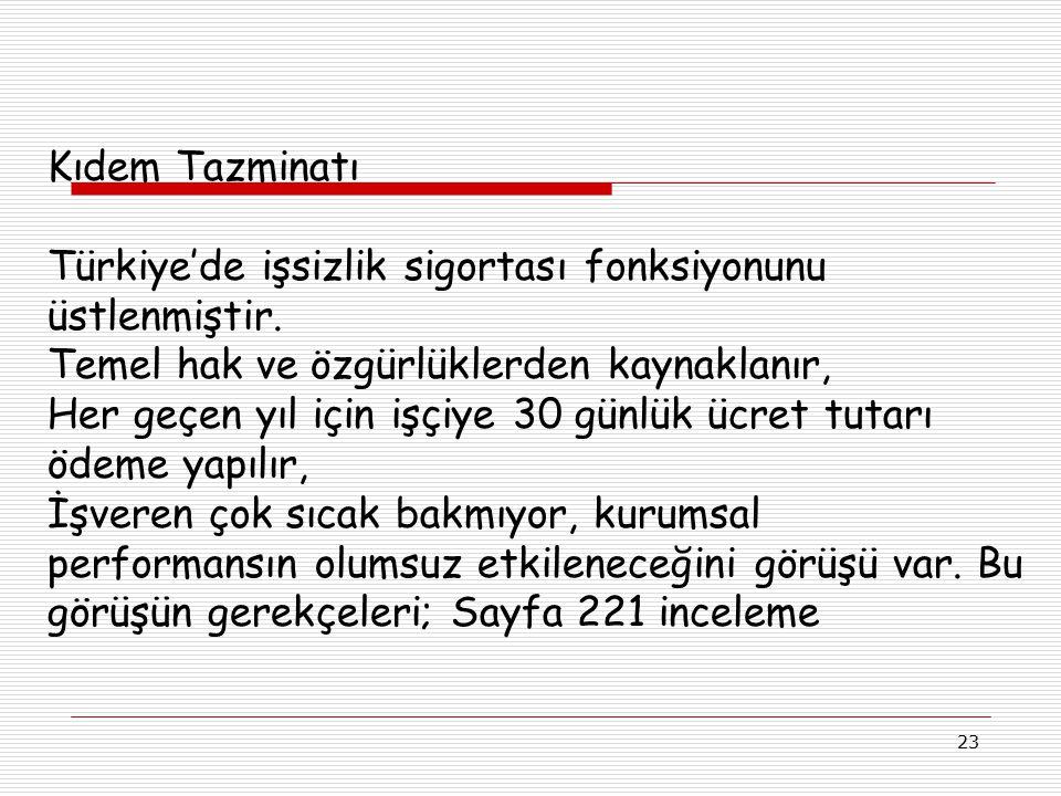 23 Kıdem Tazminatı Türkiye'de işsizlik sigortası fonksiyonunu üstlenmiştir. Temel hak ve özgürlüklerden kaynaklanır, Her geçen yıl için işçiye 30 günl