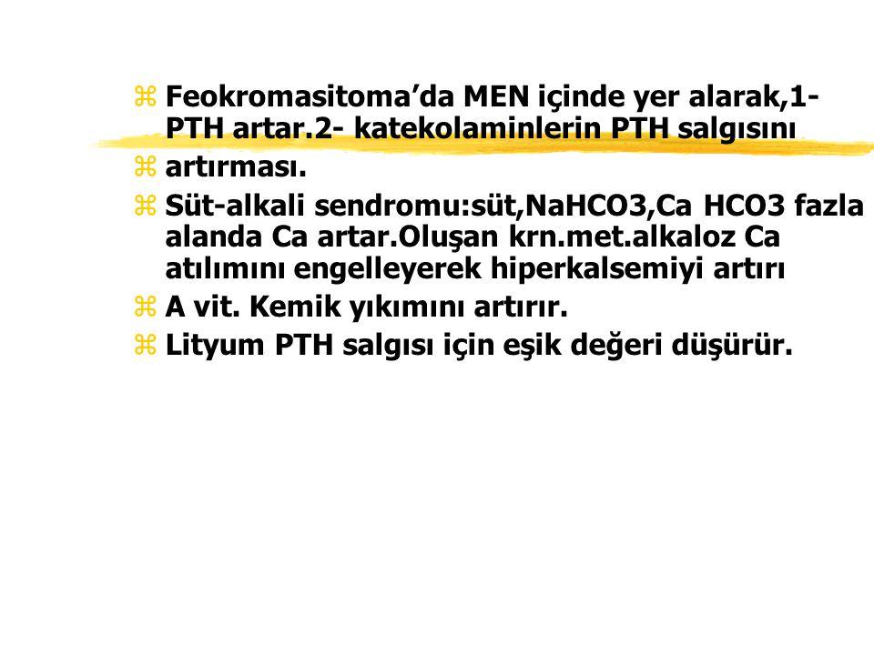 zFeokromasitoma'da MEN içinde yer alarak,1- PTH artar.2- katekolaminlerin PTH salgısını zartırması. zSüt-alkali sendromu:süt,NaHCO3,Ca HCO3 fazla alan