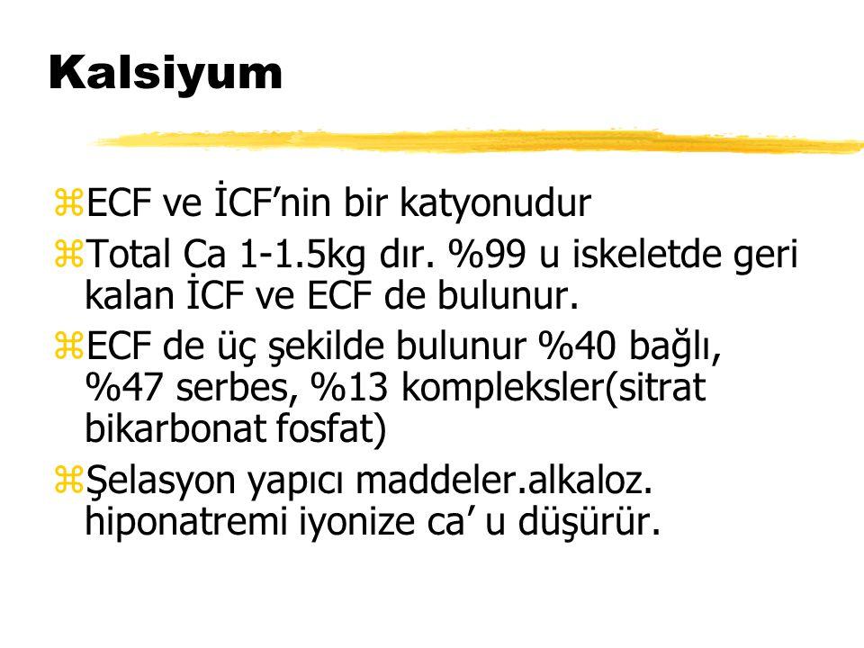 Kalsiyum zECF ve İCF'nin bir katyonudur zTotal Ca 1-1.5kg dır. %99 u iskeletde geri kalan İCF ve ECF de bulunur. zECF de üç şekilde bulunur %40 bağlı,